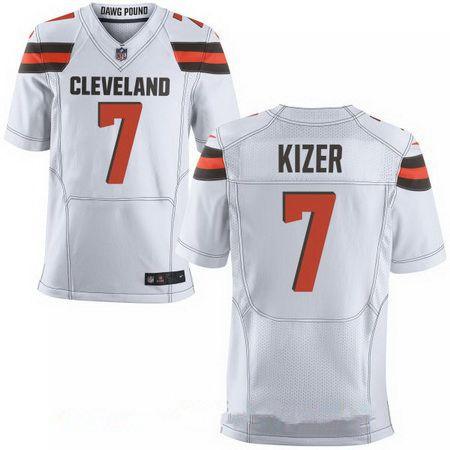 Men's 2017 NFL Draft Cleveland Browns #7 DeShone Kizer White Road Stitched NFL Nike Elite Jersey