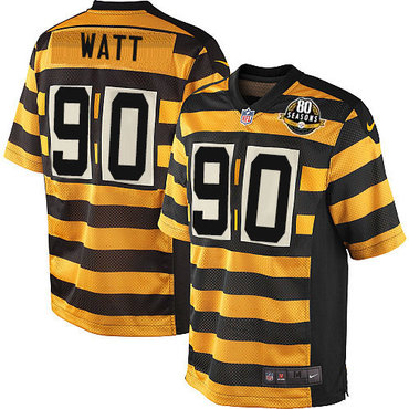 Men's 2017 NFL Draft Pittsburgh Steelers #90 T. J. Watt Yellow With Black Bumblebee 80th Patch Stitched NFL Nike Elite Jersey