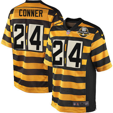 Nike Steelers #24 James Conner Yellow Black Alternate Men's Stitched NFL 80TH Throwback Elite Jersey