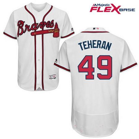 Men's Atlanta Braves #49 Julio Teheran White Home Stitched MLB Majestic Flex Base Jersey