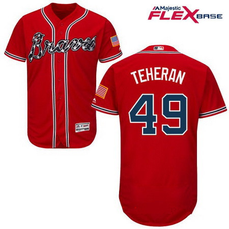 Men's Atlanta Braves #49 Julio Teheran Red Alternate Stitched MLB Majestic Flex Base Jersey