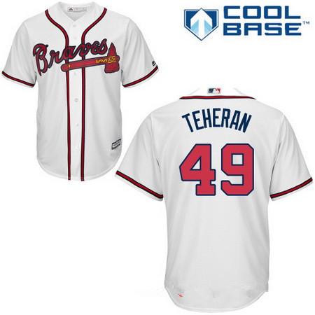 Men's Atlanta Braves #49 Julio Teheran White Home Stitched MLB Majestic Cool Base Jersey