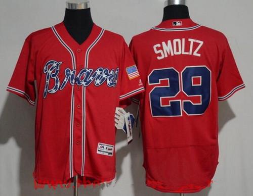 Men's Atlanta Braves #29 John Smoltz Retired Red Stitched MLB Majestic Flex Base Jersey