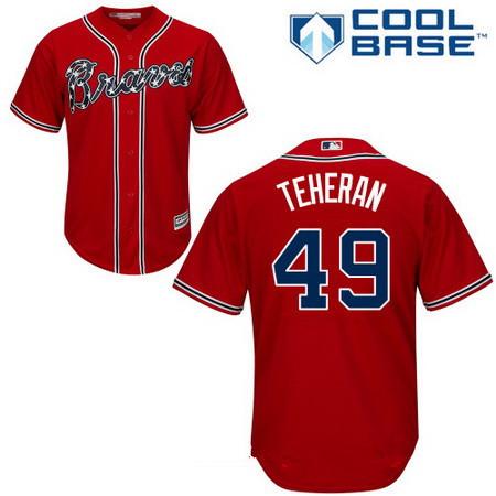 Men's Atlanta Braves #49 Julio Teheran Red Alternate Stitched MLB Majestic Cool Base Jersey