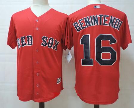 Men's Boston Red Sox #16 Andrew Benintendi Red Alternate Stitched MLB Majestic Cool Base Jersey