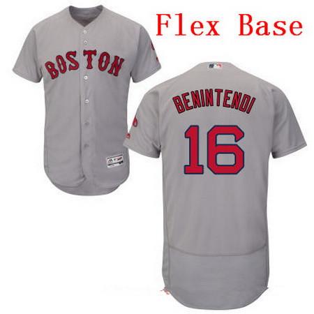 Men's Boston Red Sox #16 Andrew Benintendi Gray Road Stitched MLB Majestic Flex Base Jersey