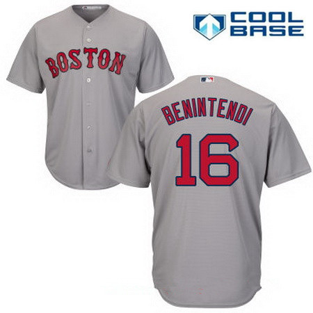 Men's Boston Red Sox #16 Andrew Benintendi Gray Road Stitched MLB Majestic Cool Base Jersey
