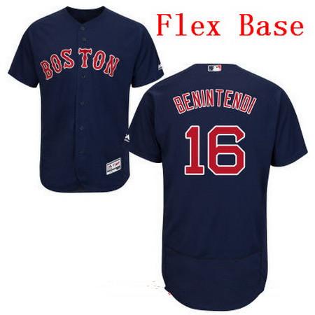 Men's Boston Red Sox #16 Andrew Benintendi Navy Blue Alternate Stitched MLB Majestic Flex Base Jersey
