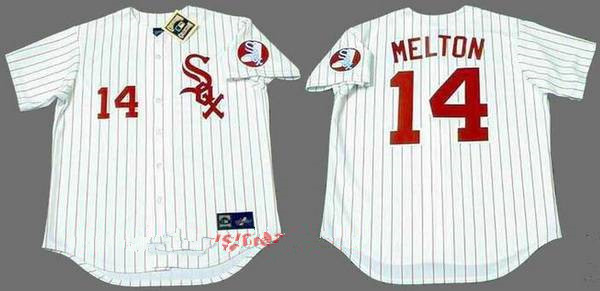 Men's Chicago White Sox #14 Bill Melton White with Red Pinstirpe Button 1970 Throwback Jersey By Mitchell & Ness