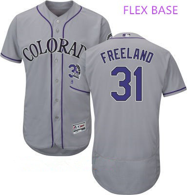Men's Colorado Rockies #31 Kyle Freeland Gray Road Stitched MLB Majestic Flex Base Jersey