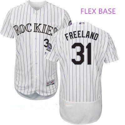 Men's Colorado Rockies #31 Kyle Freeland White Home Stitched MLB Majestic Flex Base Jersey