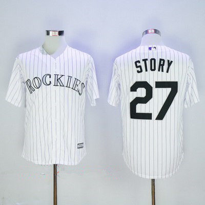 Men's Colorado Rockies #27 Trevor Story White Home Stitched MLB Majestic Cool Base Jersey