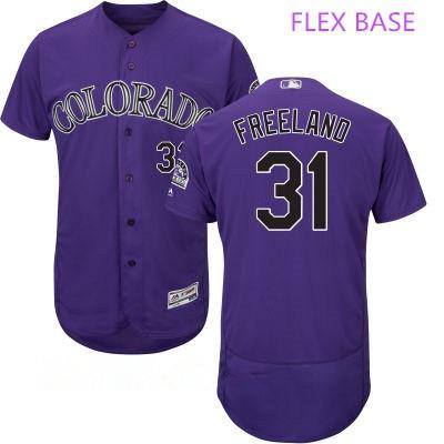 Men's Colorado Rockies #31 Kyle Freeland Purple Stitched MLB Majestic Flex Base Jersey