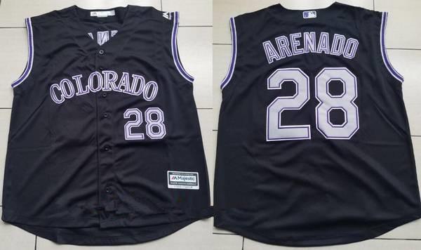 Men's Colorado Rockies #28 Nolan Arenado Black Vest Sleeveless Stitched MLB Majestic Cool Base Jersey