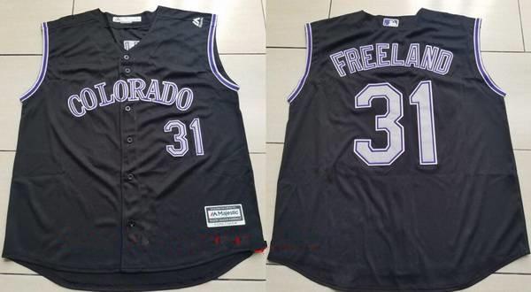 Men's Colorado Rockies #31 Kyle Freeland Black Vest Sleeveless Stitched MLB Majestic Cool Base Jersey
