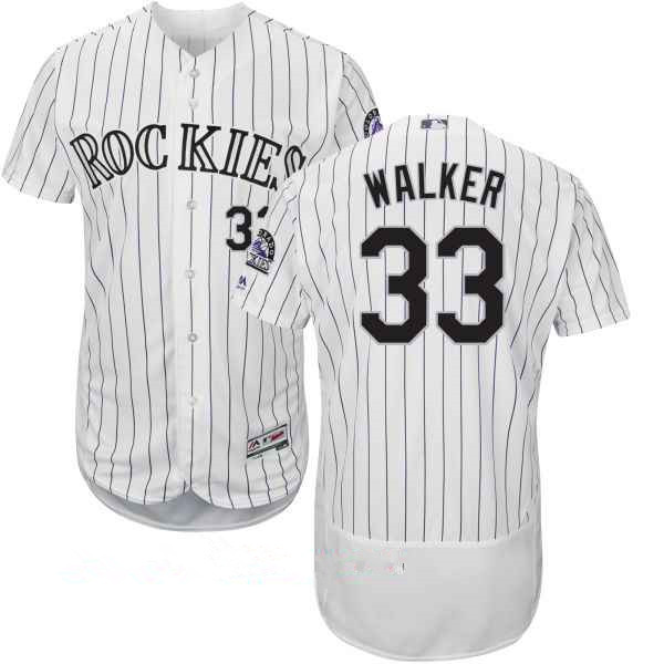 Men's Colorado Rockies #33 Larry Walker Retired White Home Stitched MLB Majestic Flex Base Jersey
