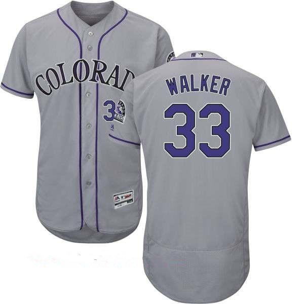 Men's Colorado Rockies #33 Larry Walker Retired Gray Road Stitched MLB Majestic Flex Base Jersey