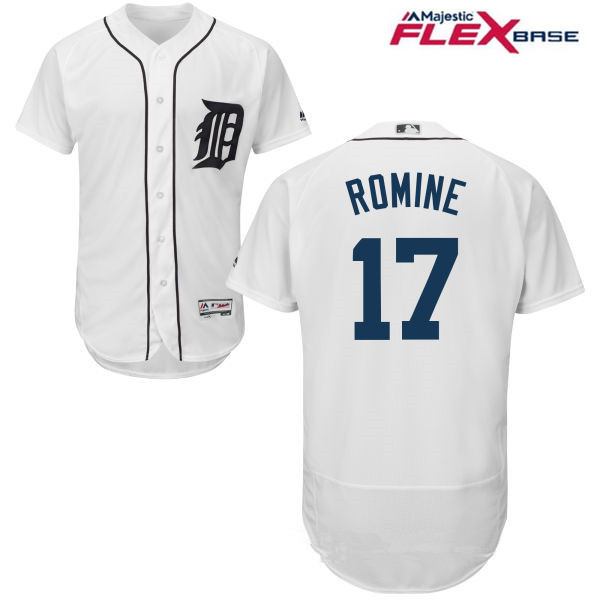 Men's Detroit Tigers #17 Andrew Romine White Home Stitched MLB Majestic Flex Base Jersey