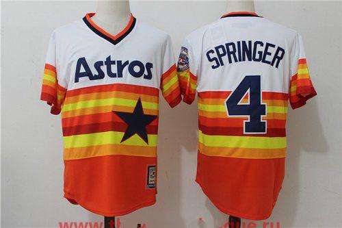 Men's Houston Astros #4 George Springer Orange Rainbow Cooperstown Stitched MLB Majestic Cool Base Jersey