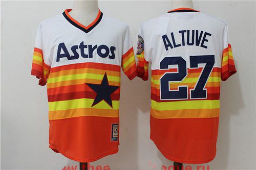 Men's Houston Astros #27 Jose Altuve Orange Rainbow Cooperstown Stitched MLB Majestic Cool Base Jersey