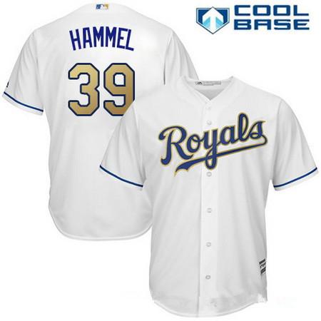 Men's Kansas City Royals #39 Jason Hammel White Home Stitched MLB Majestic 2017 Cool Base Jersey