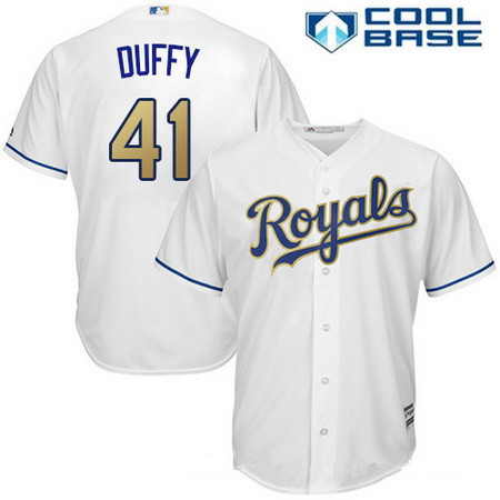 Men's Kansas City Royals #41 Danny Duffy White Home Stitched MLB Majestic 2017 Cool Base Jersey