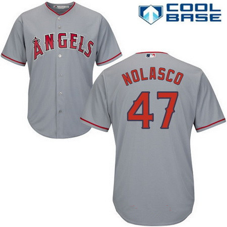 Men's Los Angeles Angels of Anaheim #47 Ricky Nolasco Gray Road Stitched MLB Majestic Cool Base Jersey