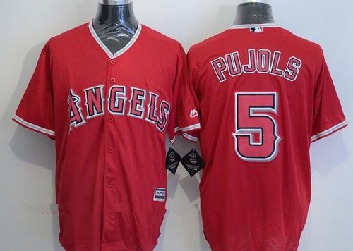 Men's Los Angeles Angels of Anaheim #5 Albert Pujols Red Stitched MLB Majestic Cool Base Jersey