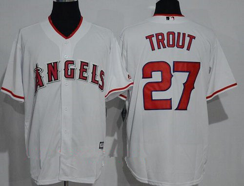 Men's Los Angeles Angels Of Anaheim #27 Mike Trout White Home Stitched MLB Majestic Cool Base Jersey