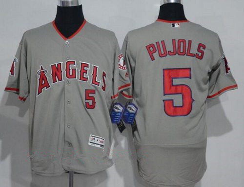 Men's Los Angeles Angels of Anaheim #5 Albert Pujols Gray Road Stitched MLB Majestic Flex Base Jersey
