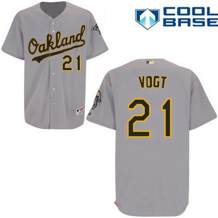 Men's Oakland Athletics #21 Stephen Vogt Gray Road Stitched MLB Majestic Cool Base Jersey