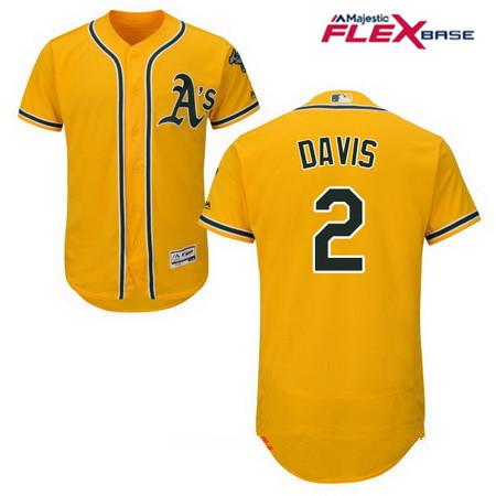 Men's Oakland Athletics #2 Khris Davis Yellow Alternate Stitched MLB Majestic Flex Base Jersey