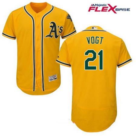 Men's Oakland Athletics #21 Stephen Vogt Yellow Alternate Stitched MLB Majestic Flex Base Jersey