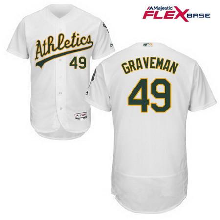 Men's Oakland Athletics #49 Kendall Graveman White Home Stitched MLB Majestic Flex Base Jersey
