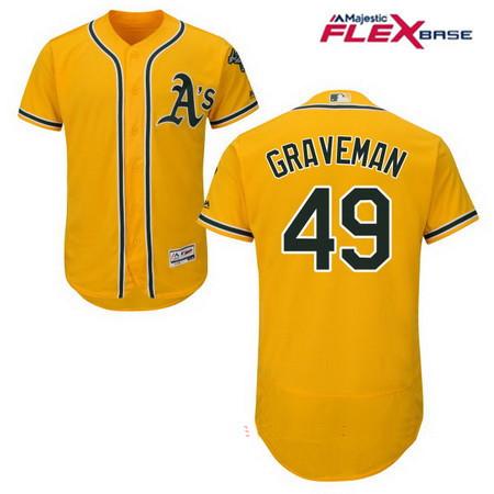 Men's Oakland Athletics #49 Kendall Graveman Yellow Alternate Stitched MLB Majestic Flex Base Jersey