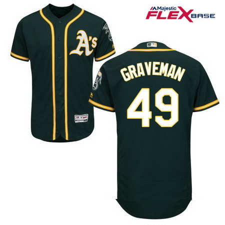 Men's Oakland Athletics #49 Kendall Graveman Green Alternate Stitched MLB Majestic Flex Base Jersey