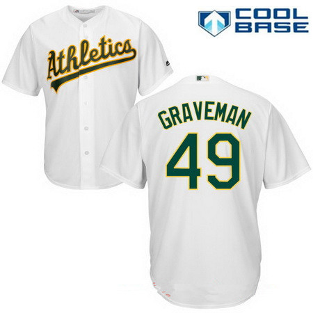 Men's Oakland Athletics #49 Kendall Graveman White Home Stitched MLB Majestic Cool Base Jersey