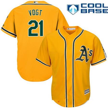Men's Oakland Athletics #21 Stephen Vogt Yellow Alternate Stitched MLB Majestic Cool Base Jersey