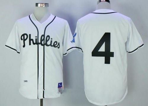 Men's Philadelphia Phillies #4 Lenny Dykstra White 1945 Throwback Jersey By Mitchell & Ness