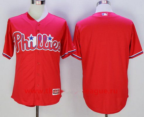 Men's Philadelphia Phillies Blank Red Alternate Stitched MLB Majestic Flex Base Jersey