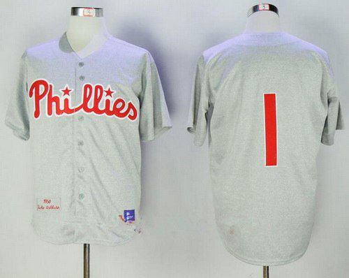 Men's Philadelphia Phillies #1 Chuck Klein 1950 Gray Wool Throwback Stitched MLB Cooperstown Collection Jersey By Mitchell & Ness