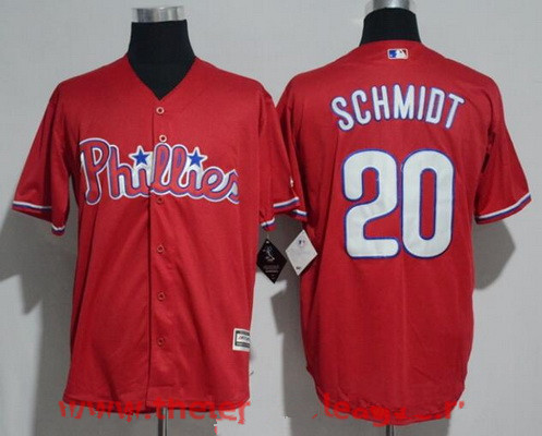 Men's Philadelphia Phillies #20 Mike Schmidt Retried Red Stitched MLB Majestic Cool Base Jersey