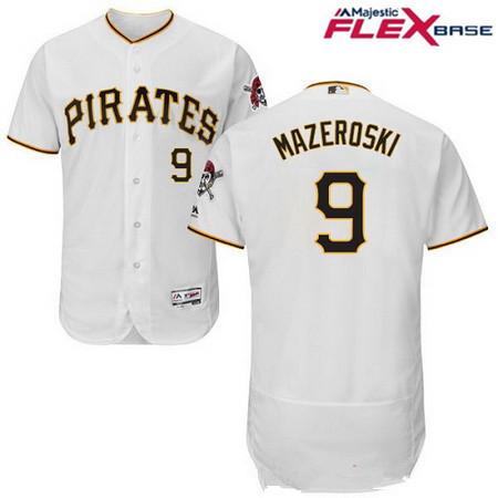 Men's Pittsburgh Pirates #9 Bill Mazeroski White Home Stitched MLB Majestic Flex Base Jersey