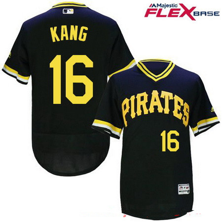 Men's Pittsburgh Pirates #16 Jung-ho Kang Black Pullover Stitched MLB Majestic Flex Base Jersey