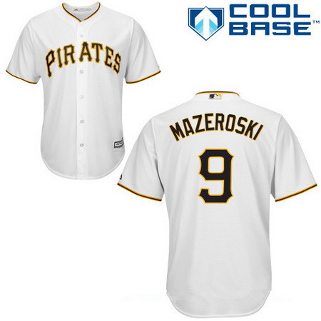 Men's Pittsburgh Pirates #9 Bill Mazeroski White Home Stitched MLB Majestic Cool Base Jersey