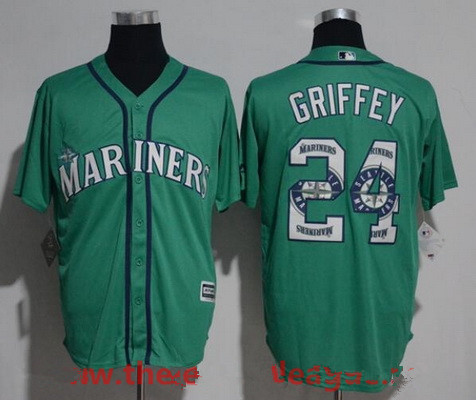 Men's Seattle Mariners #24 Ken Griffey Jr. Teal Green Team Logo Ornamented Stitched MLB Majestic Cool Base Jersey
