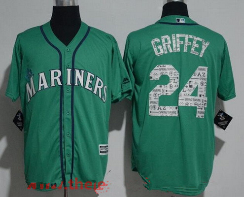 Men's Seattle Mariners #24 Ken Griffey Jr. Teal Green 2017 Spring Training Stitched MLB Majestic Cool Base Jersey