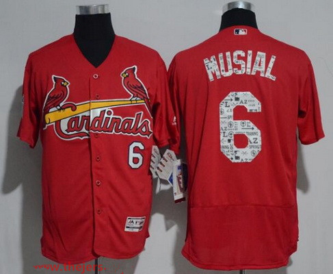 Men's St. Louis Cardinals #6 Stan Musial Retired Red 2017 Spring Training Stitched MLB Majestic Flex Base Jersey