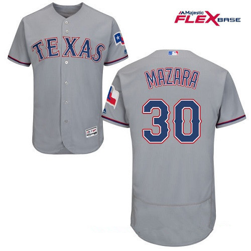 Men's Texas Rangers #30 Nomar Mazara Gray Road Stitched MLB Majestic Flex Base Jersey