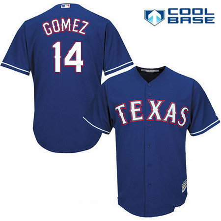 Men's Texas Rangers #14 Carlos Gomez Royal Blue Alternate Stitched MLB Majestic Cool Base Jersey